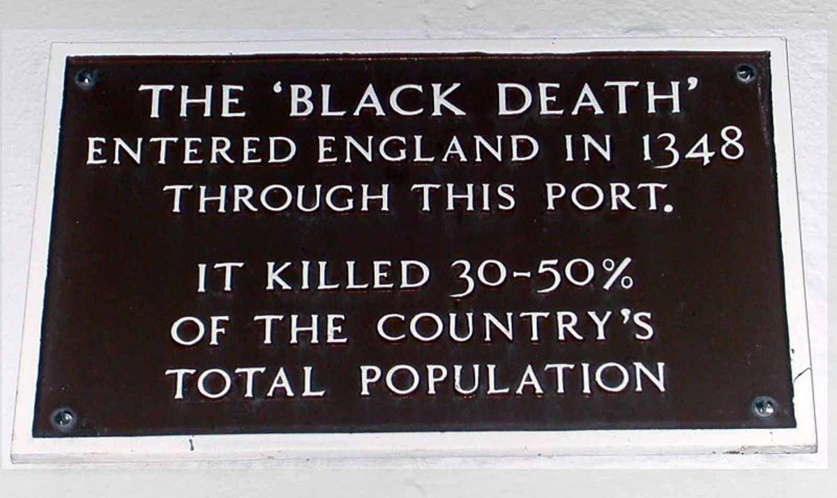 A present day plaque in Weymouth, UK, commemorating the place where the Black Death entered England.