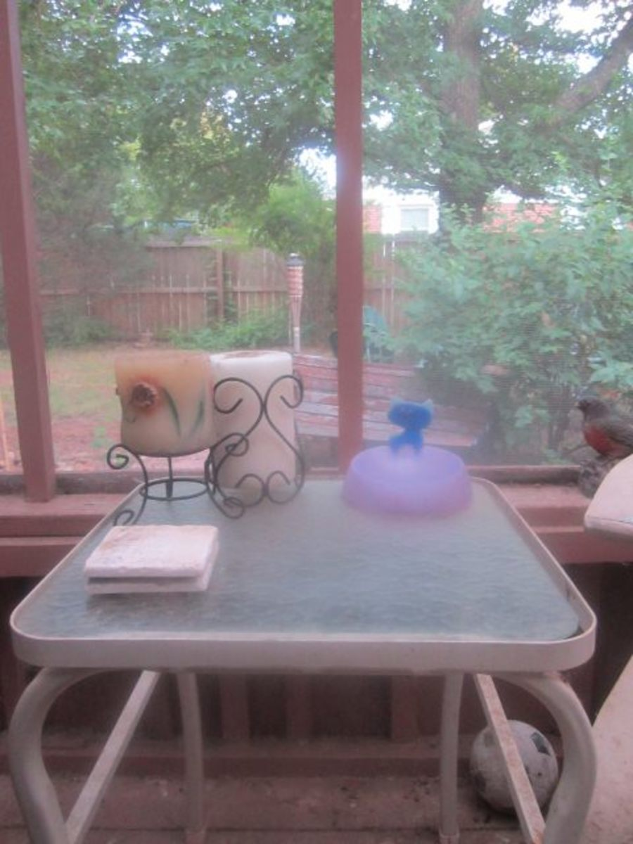 Prince Albert's table on the screened-in patio