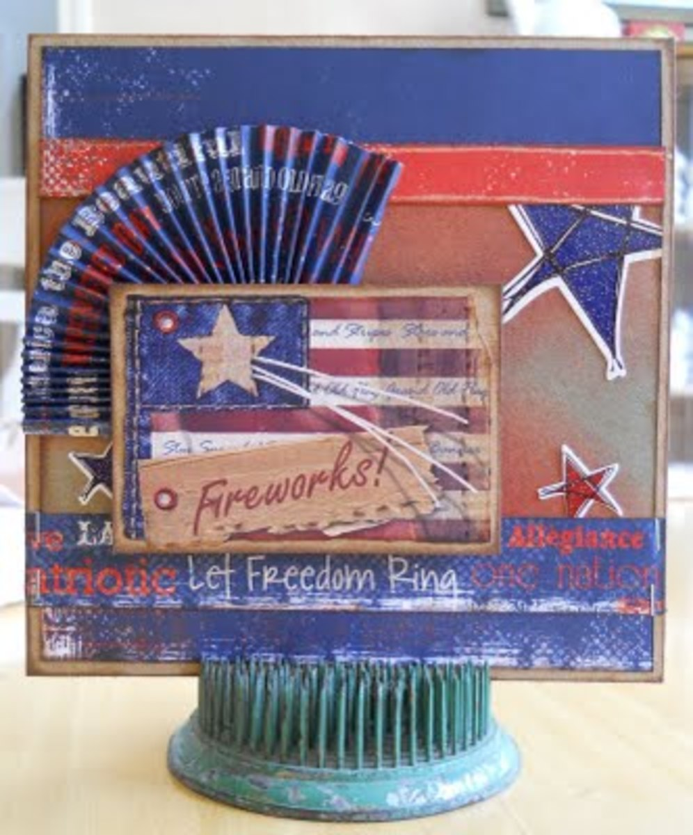 http://www.pammejo-scrapbookflair.com/2011/07/vintage-heartfelt-designs-fourth-of.html - link no longer active. Don't ever feel limited to picking one theme for a card.  This card uses several great Fourth of July themes.