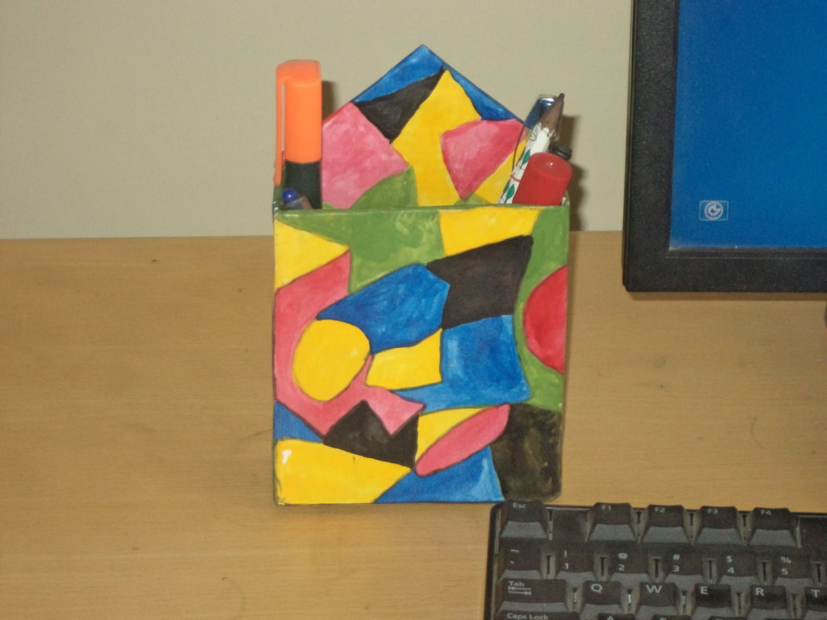 Pen-stand made from waste paper cardboard boxes