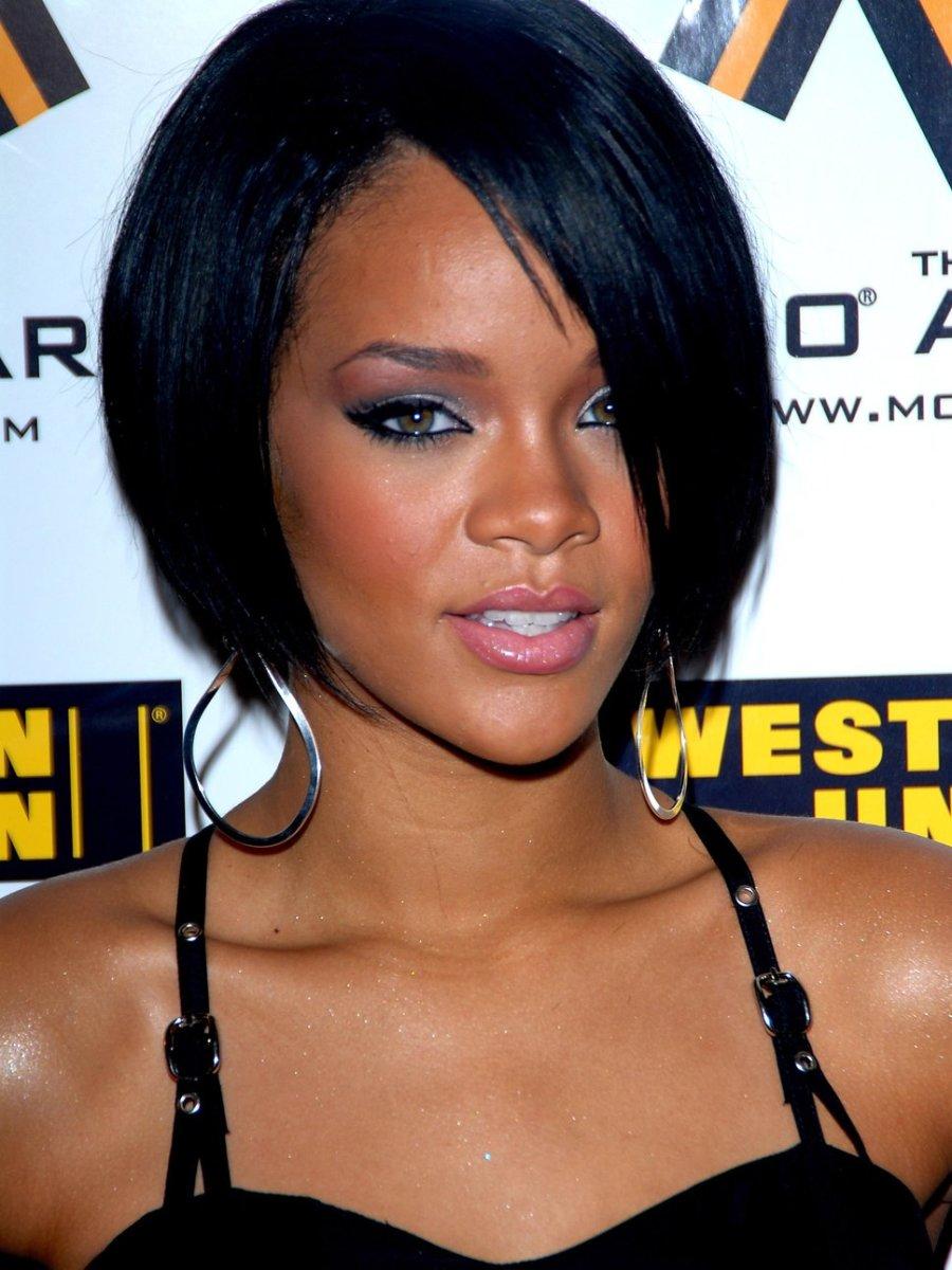 Rihanna with a Short Black Bob
