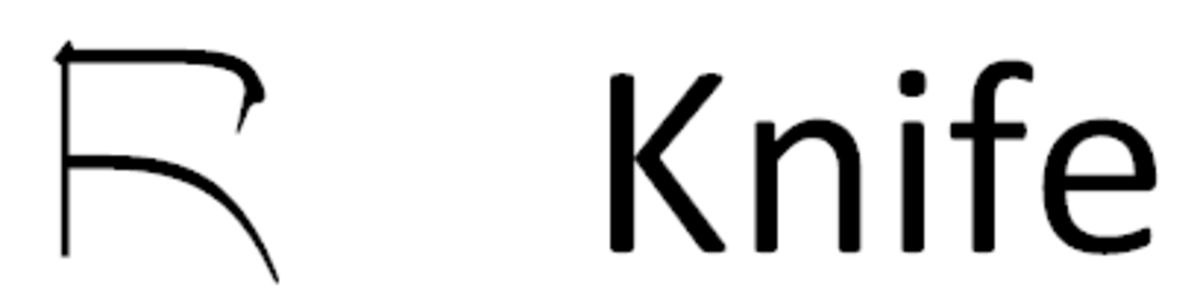 The Chinese character for knife rotated to make it easier to remember.