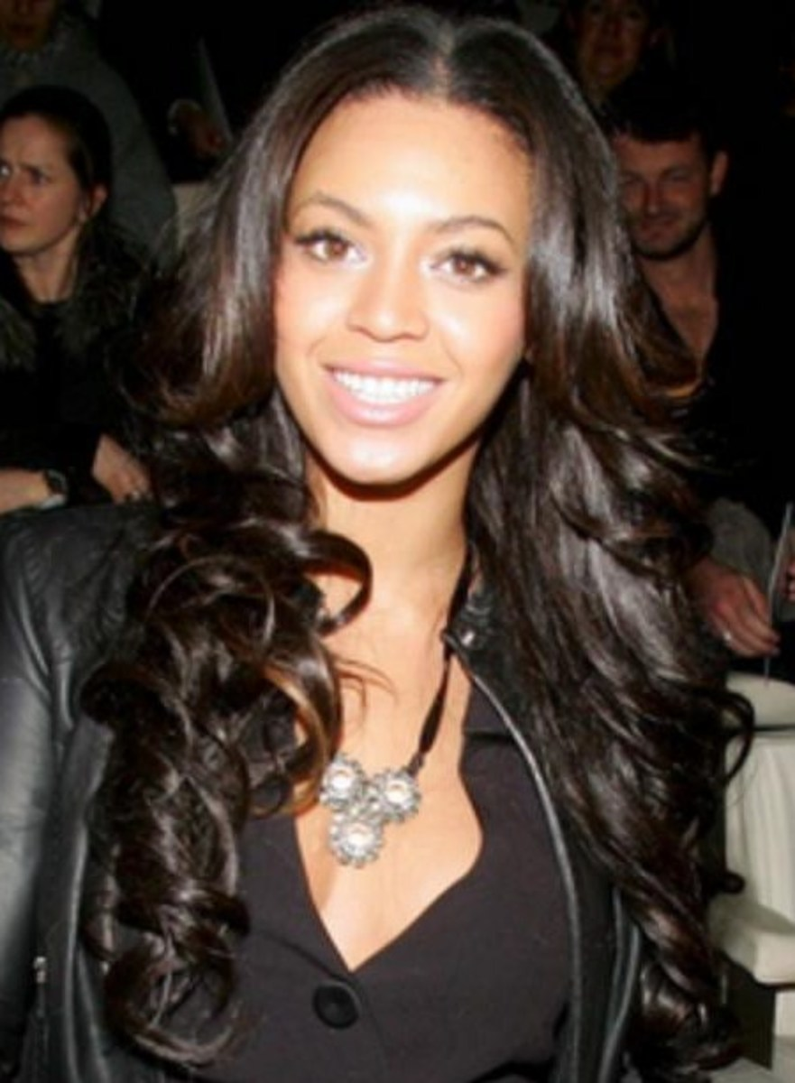 Beyonce with Long, Black Curly Hair