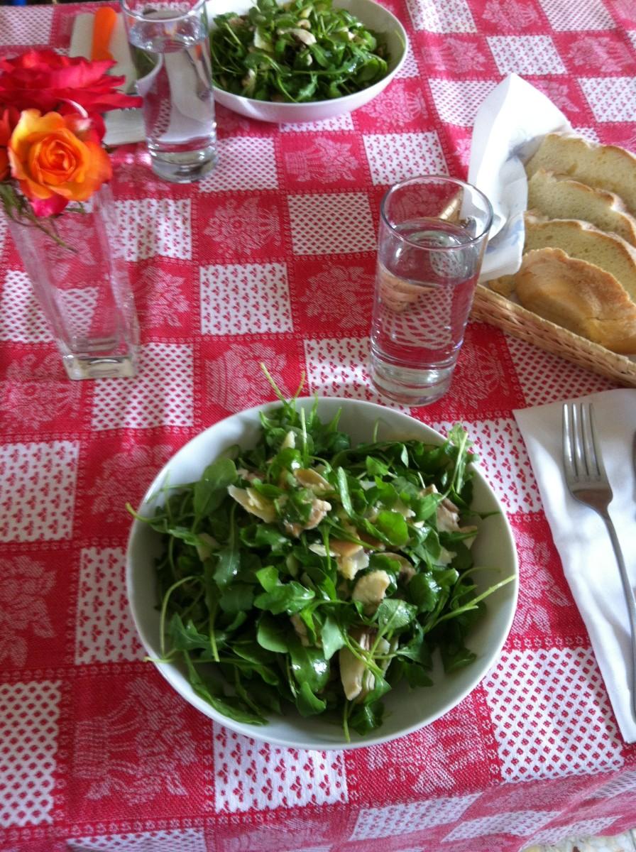 Italian Arugula (Rocket) Mushroom Lemon Parmesan Salad