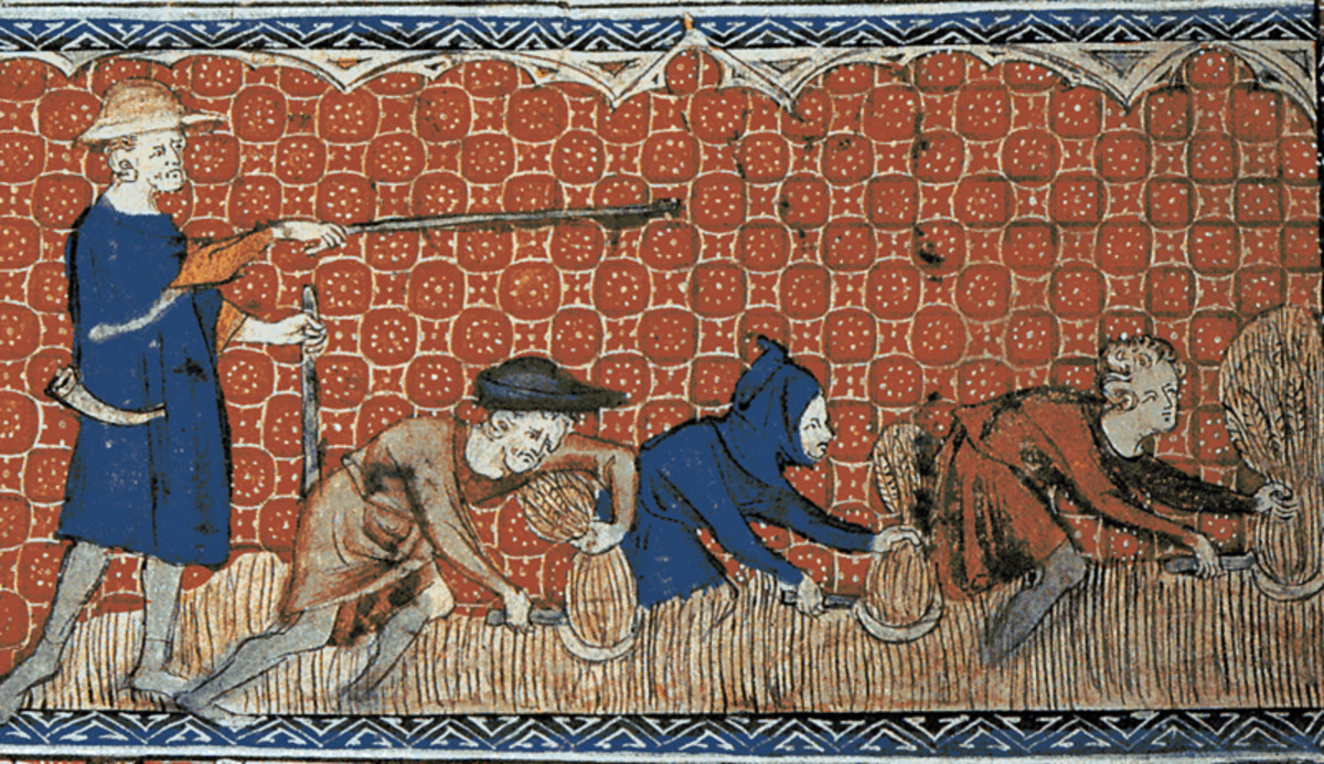 A reeve (foreman) directing serfs during the harvest in England around 1310.