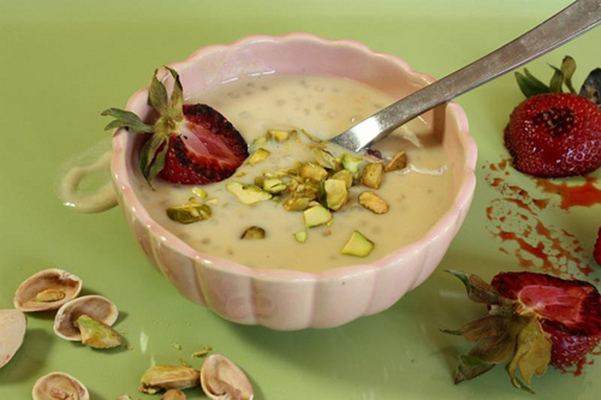 tapioca pudding with cardamom and rose water