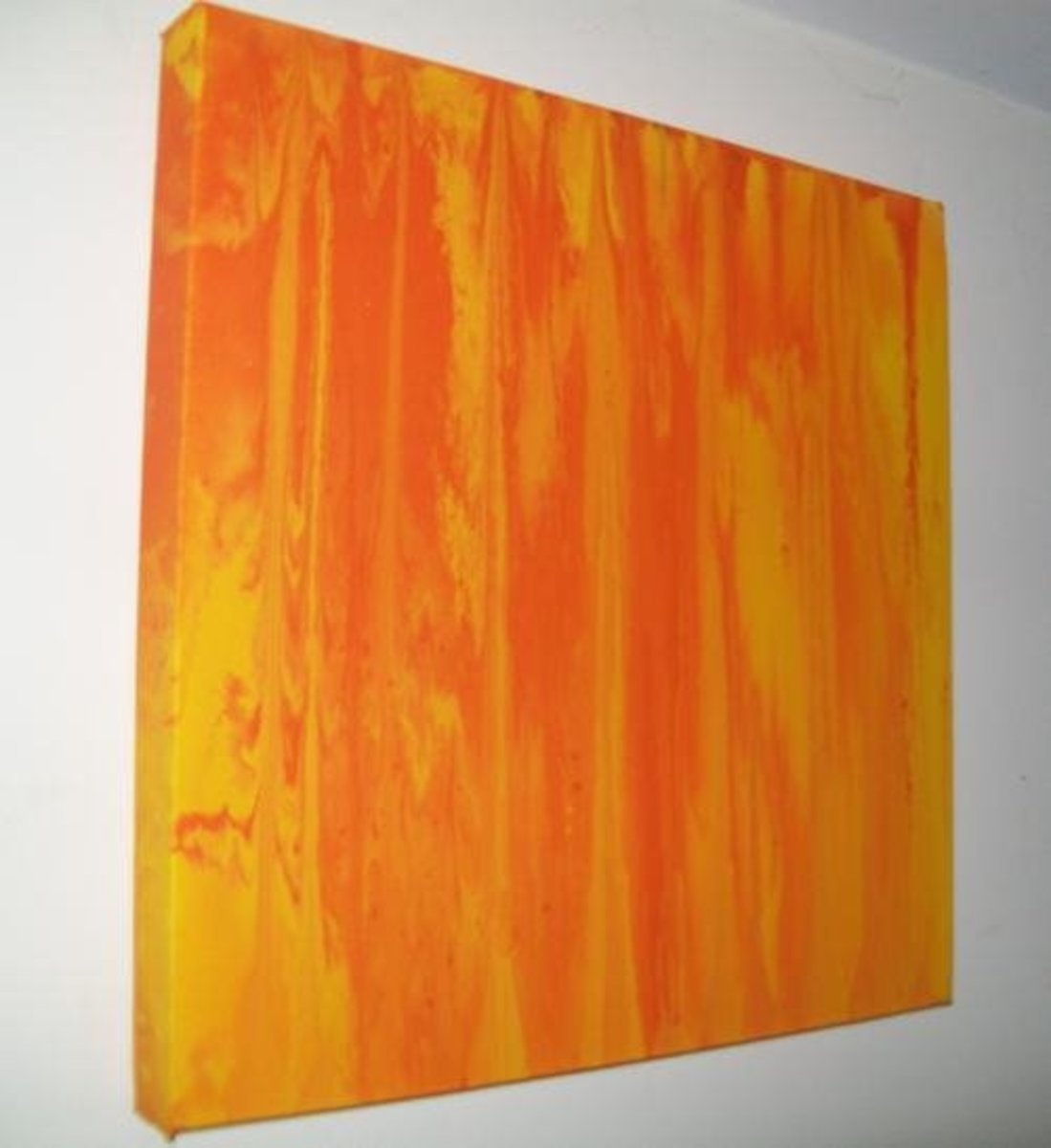 "Orange on Yellow April 30th 2013. Time taken about one hour. Size of canvas 16"" x 16""."