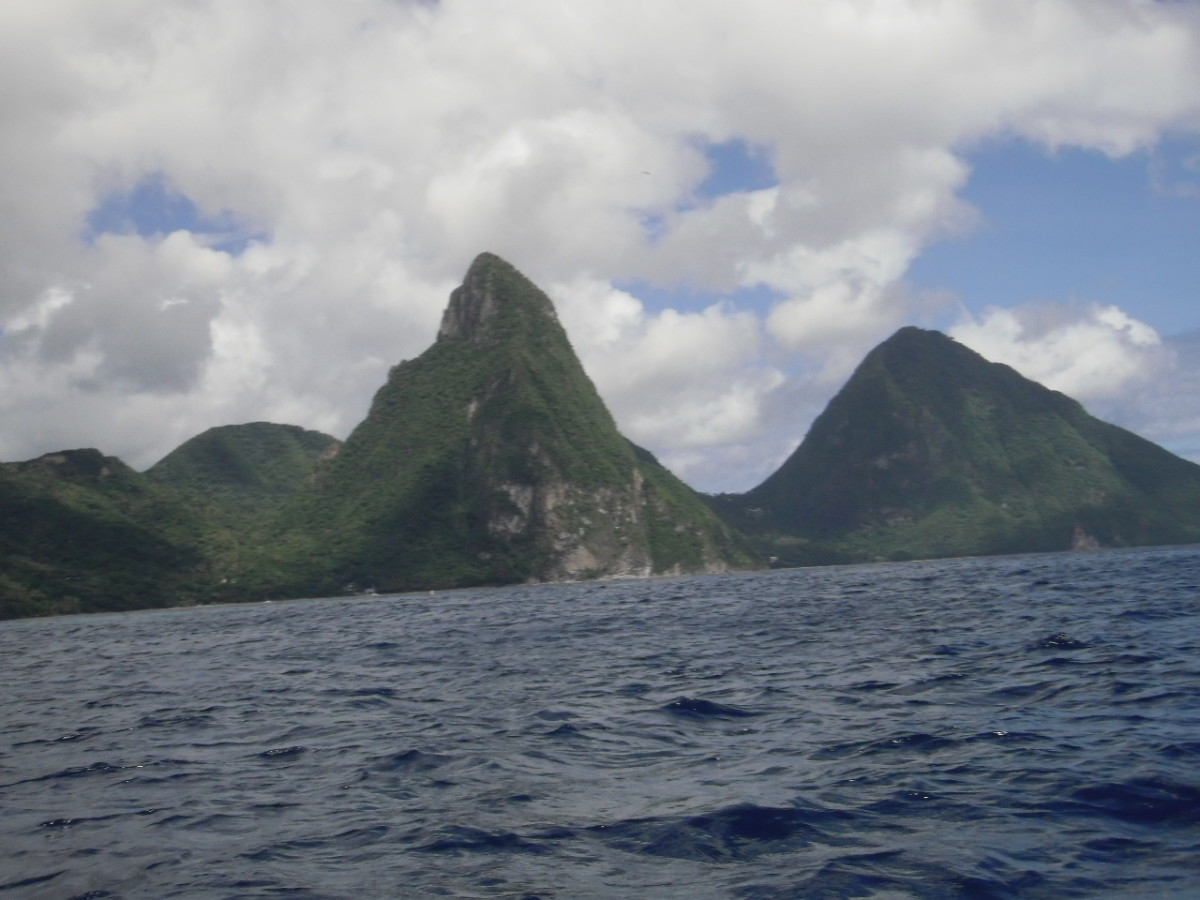 The volcanic peaks of the Pitons, sea view.
