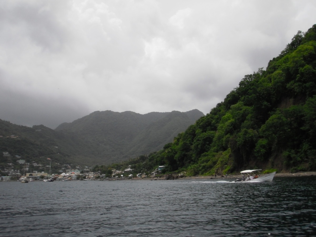 We took a water taxi from our resort at l'Anse Chastanet, past Soufriere to the trailhead at Malgretoute Beach.
