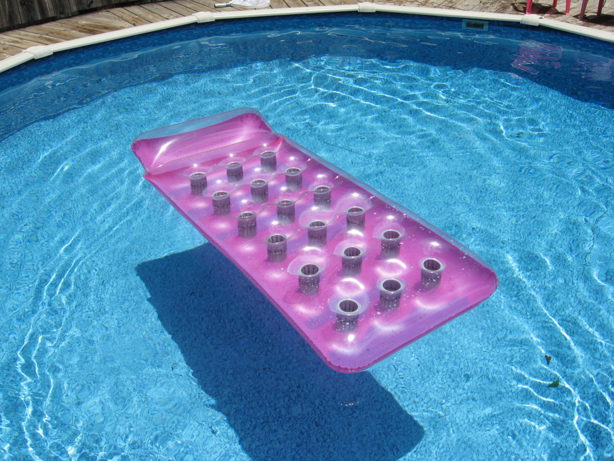 I like thick inflatable pool floats when the water is still a little too cold for comfort.
