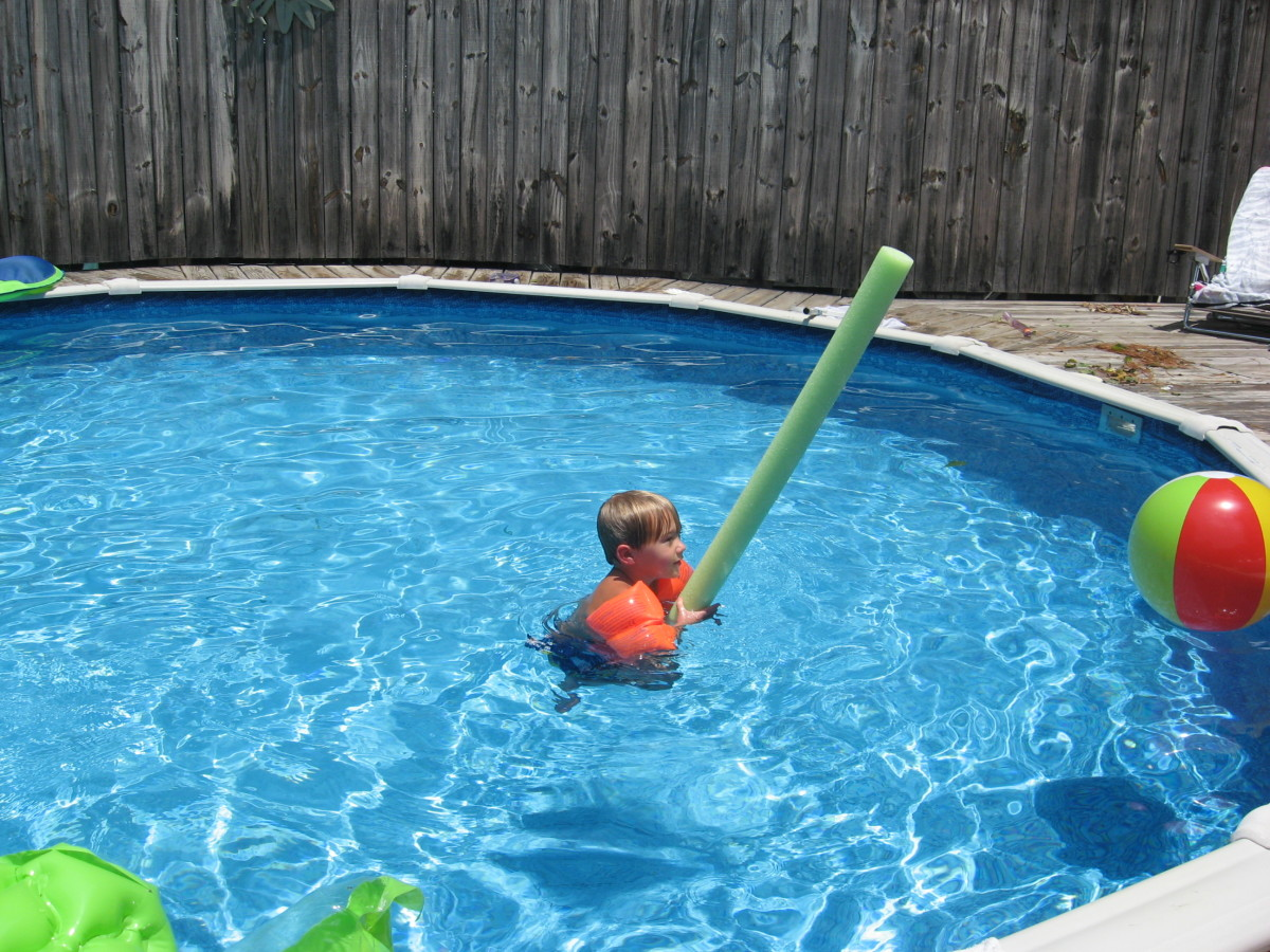 The grandkids have a blast with pool noodles.
