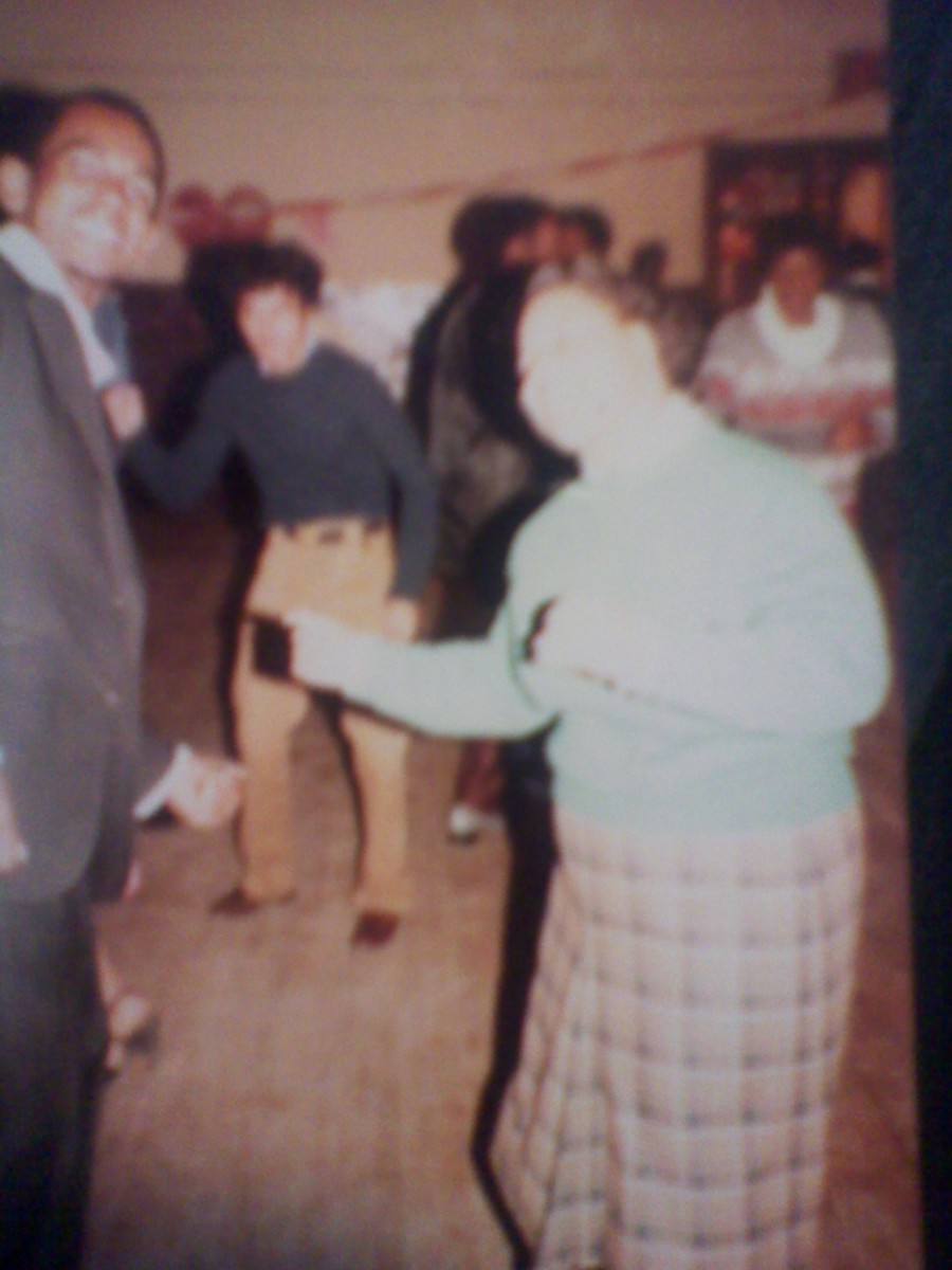 Annette (green sweater) at a dance