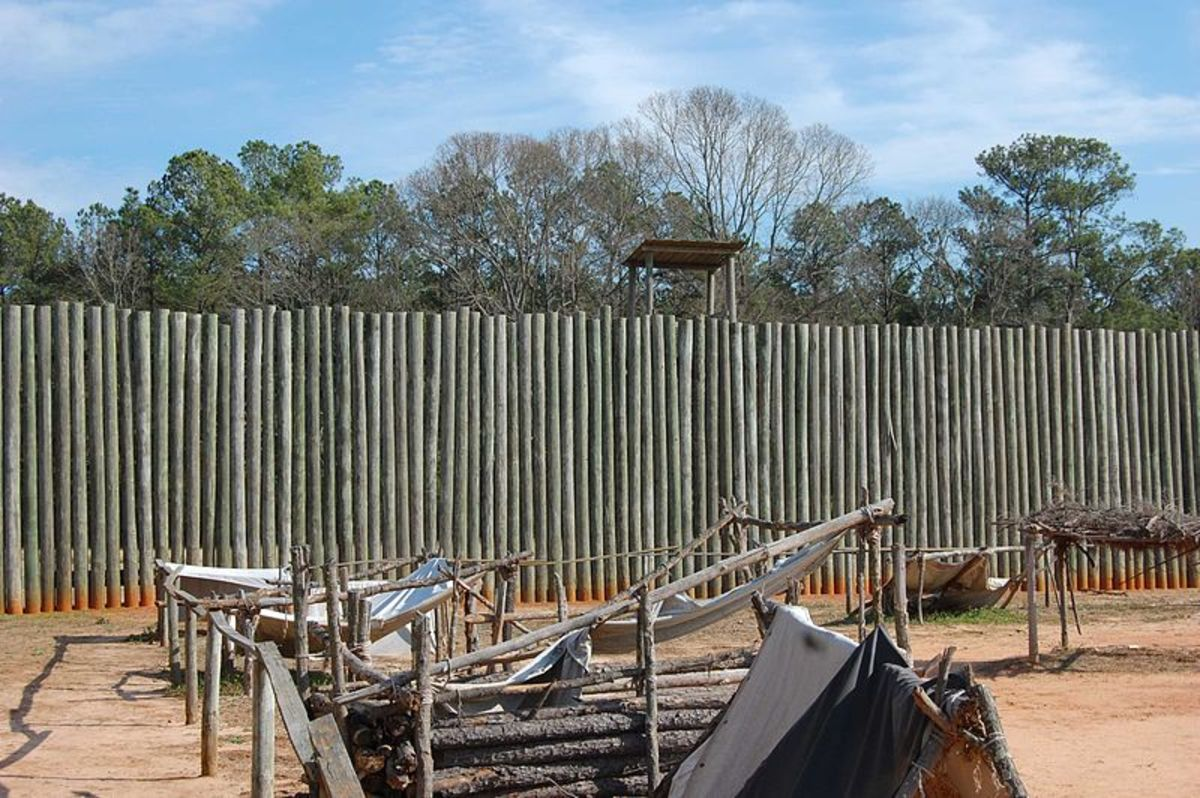 A reconstruction of one of the walls at Andersonville Prison.