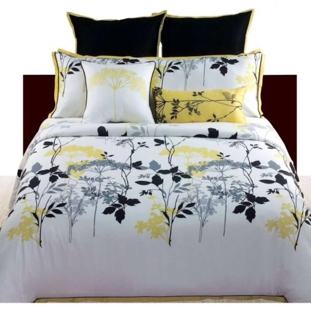 Gray Yellow 4 Piece Bedding Comforter Set