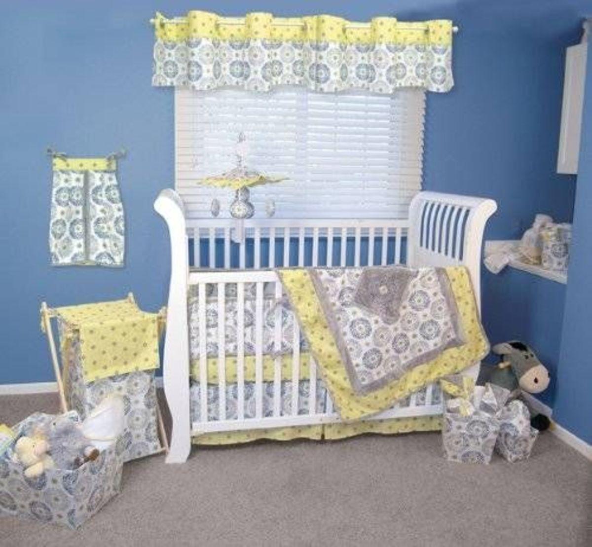 Trend Lab 4 Piece Crib Bedding Set Gray And Yellow