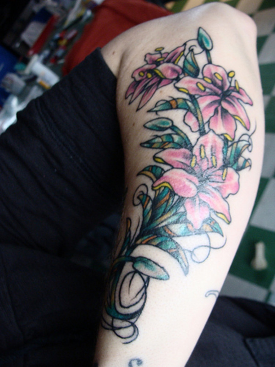 Lilies tattoos on hand