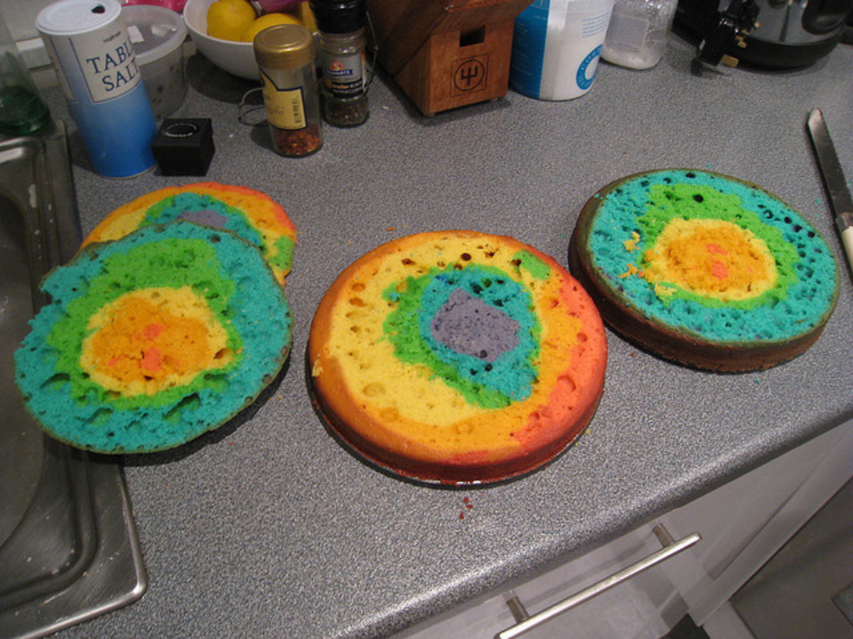 Leveled Rainbow Cake