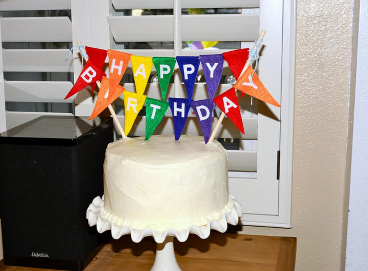 Rainbow Cake with Rainbow Bunting