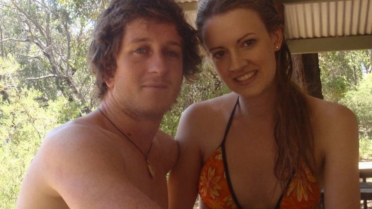 Shark attack victim Ben Linden with girlfriend Alana Noakes