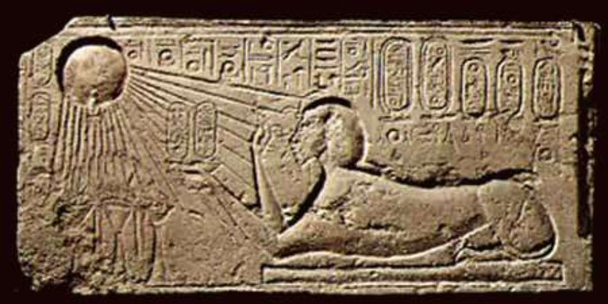 A wall carving found at Armana. In the top left you can see the sun disc representing the Aten and in the right is Akenaten in Sphix-form.