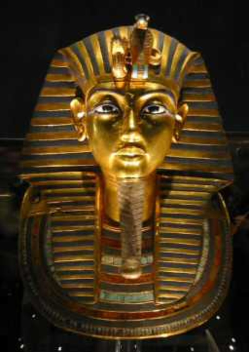 Tutankhamun's famous golden burial mask. One of the most well known Artefacts in the world.
