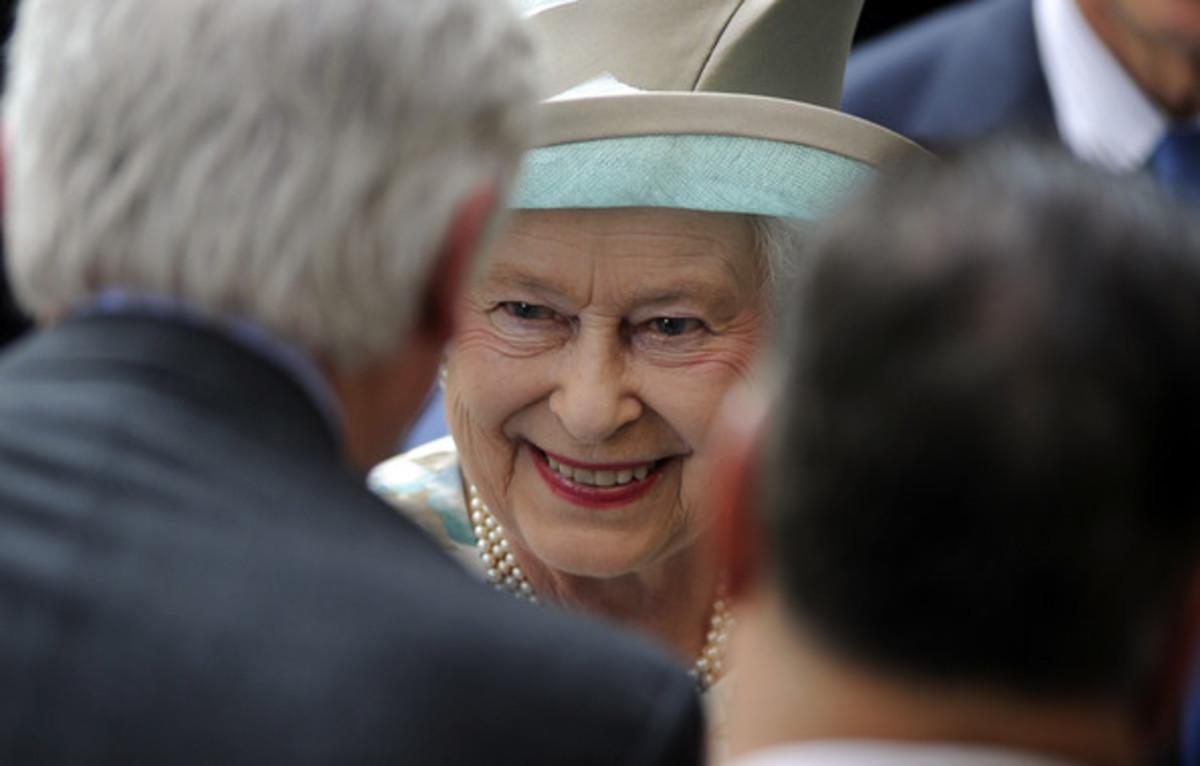 Queen Elizabeth II Greeting People At Ground Zero.