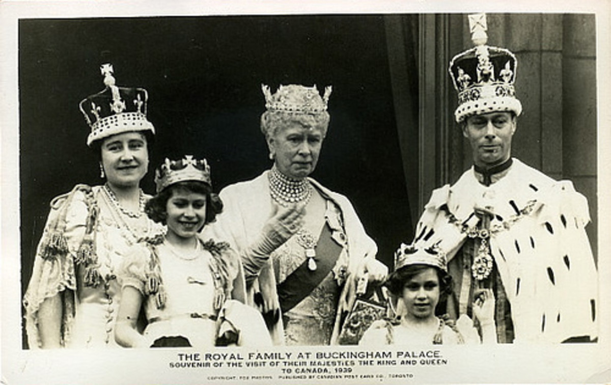 Princess Elizabeth And Her Sister, Princess Margaret; Their Parents And Grandmother On The King's Coronation Day, 1929