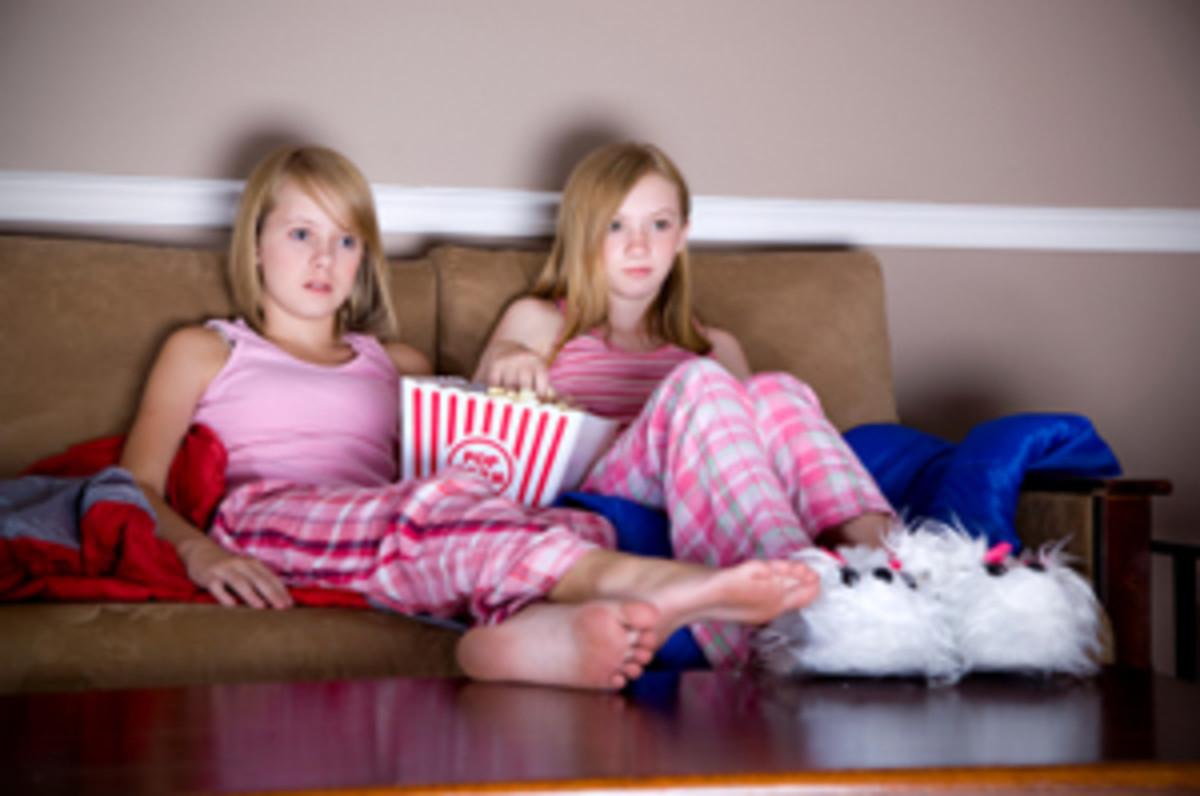 teens having fun at a sleepover (:
