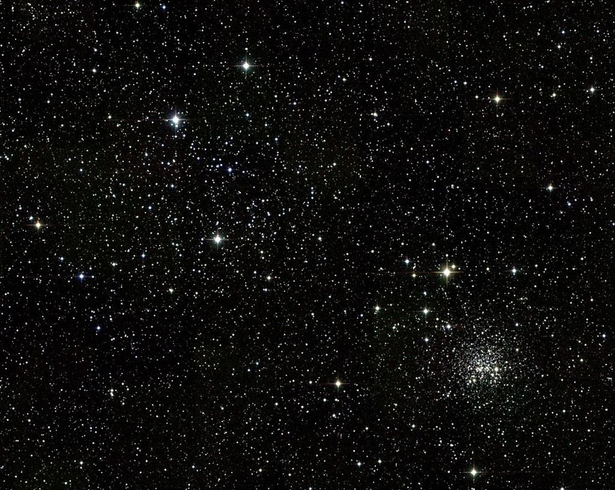 "The star cluster in the lower right quadrant of this picture is M35 or Messier35 - one of the ""messier"" space objects."