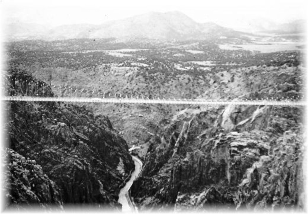 Old photo of the Royal Gorge Bridge...World's highest suspension bridge over the Arkansas River.