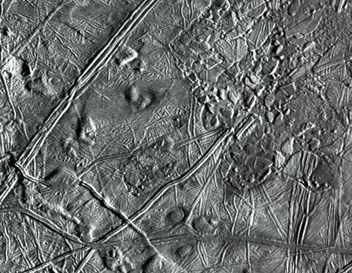 Close up on the complex ridge fractures on the surface of Europa