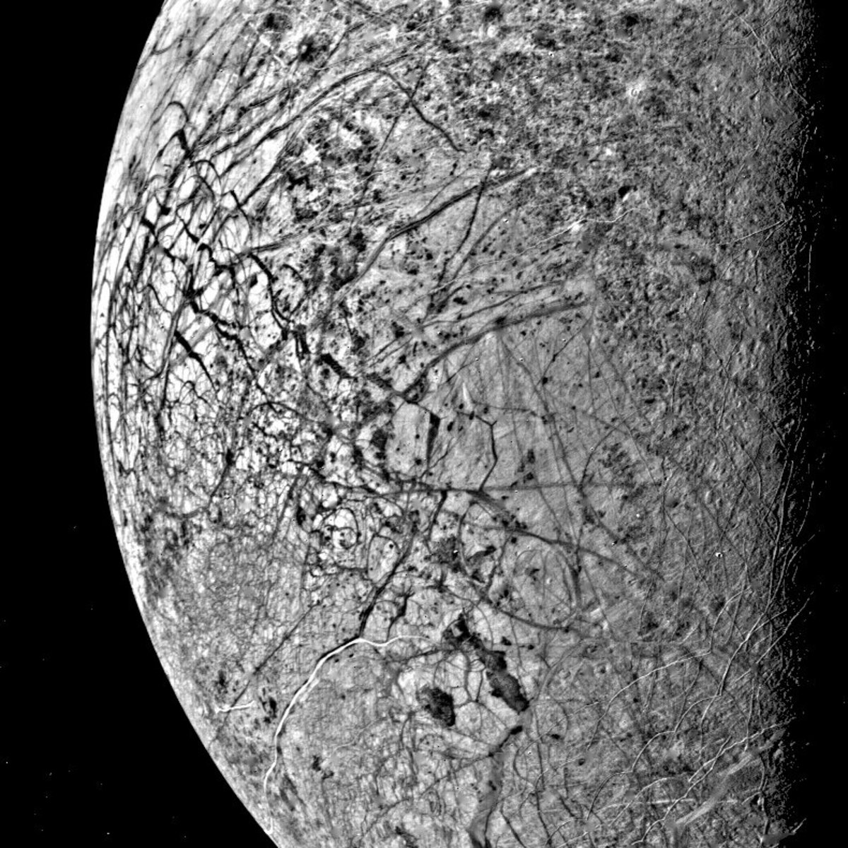 The 'fractured' sufrace of Europa. Europa has surprisingly few impact craters on its surface, suggesting processes are still modifying the surface.
