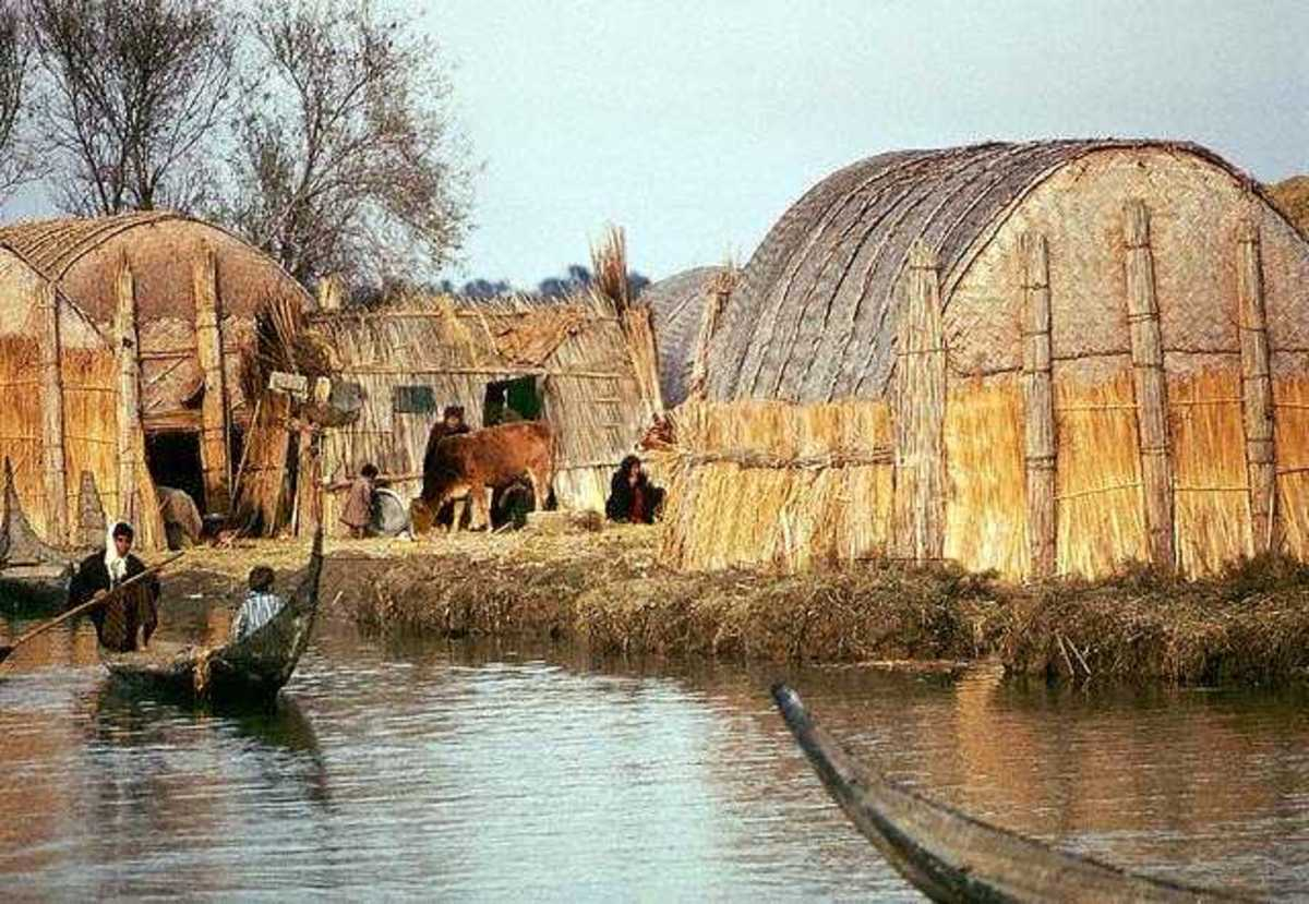 In Iraq there are thousands of people who live on floating homes made from the reeds found in the marshes. The common buildings like mosques can be quite large. These people are almost completely self sufficient.