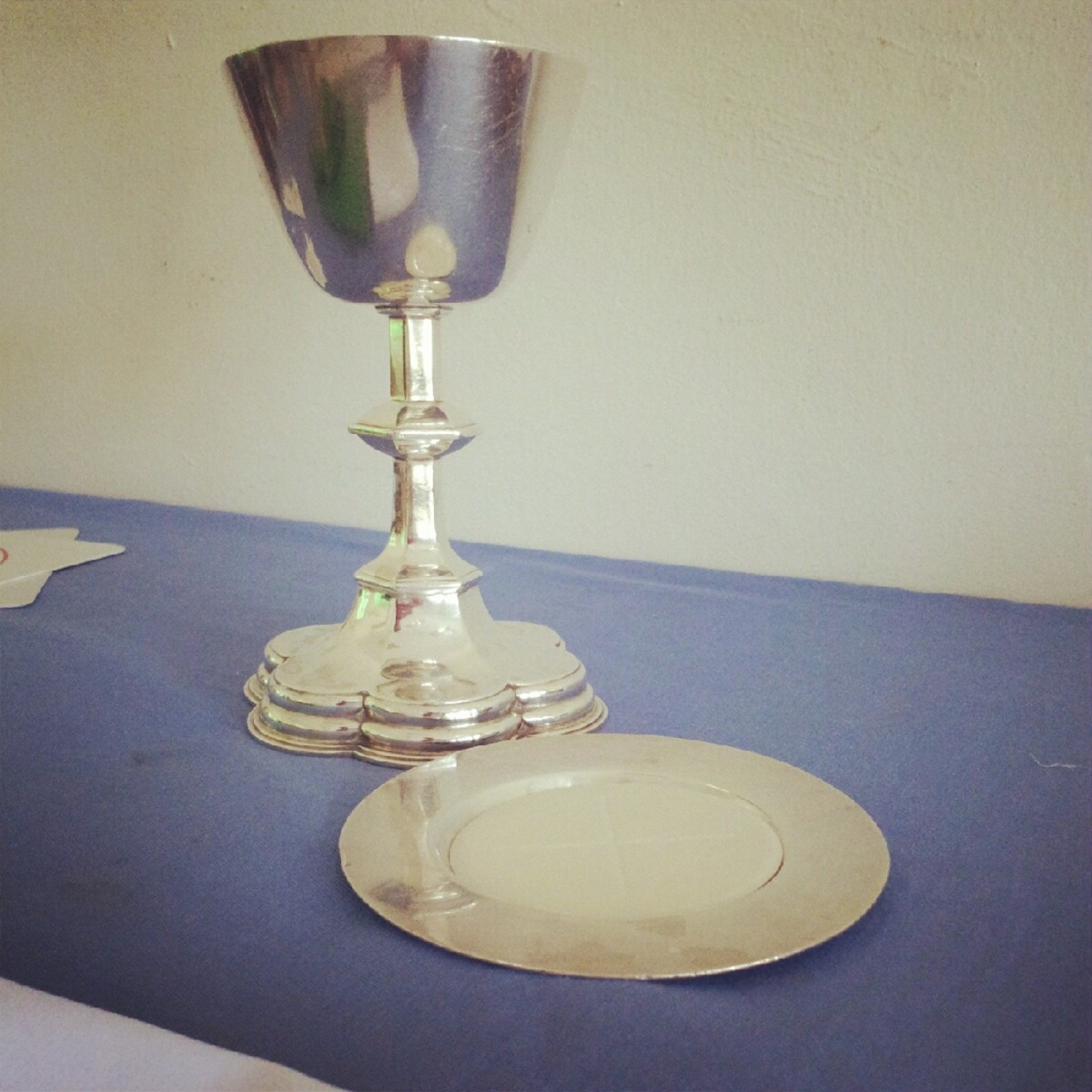 Chalice (the Cup), Paten (the plate) and Host (On the Paten)
