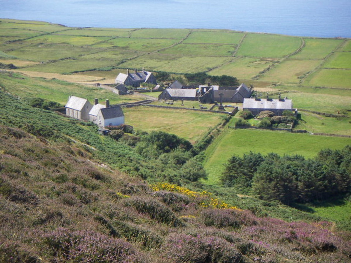 View of the chapel and surrounding area in the island of Bartsey (Ynys Enlli)