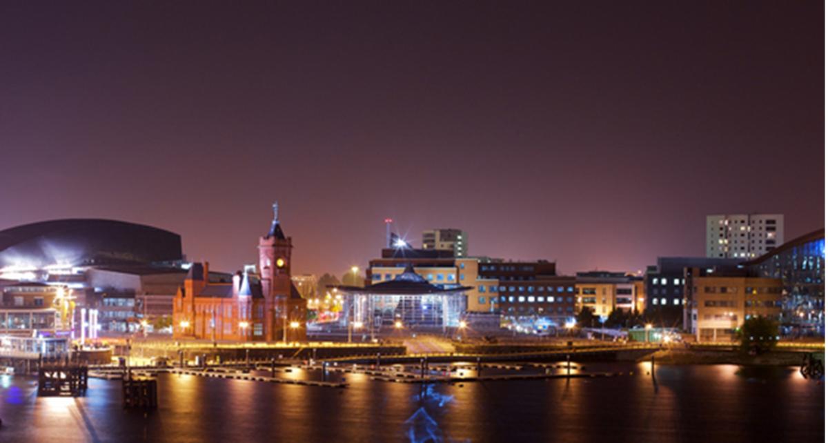 Cardiff City at night
