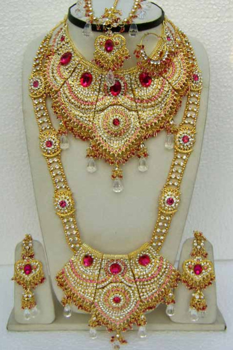 Deep Pink and Off White Stone Studed Bridal Necklace Set