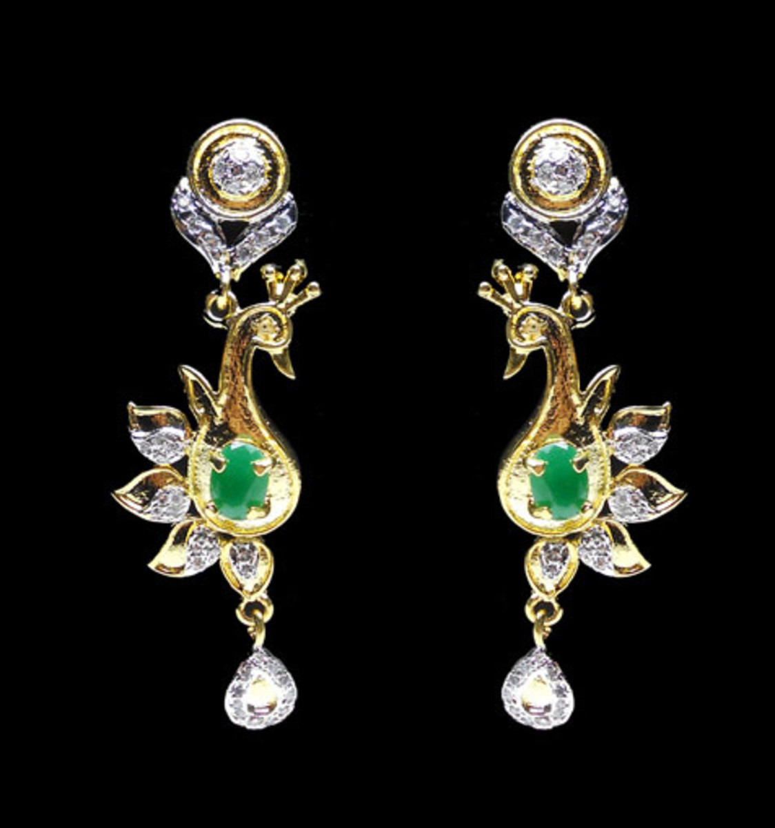 Green and Off White American Diamond Studded Imitation Earring