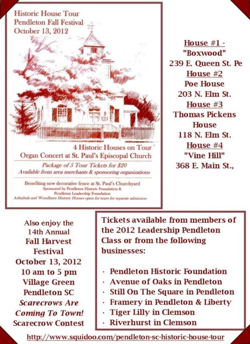 Historic Home Tour in Pendleton SC