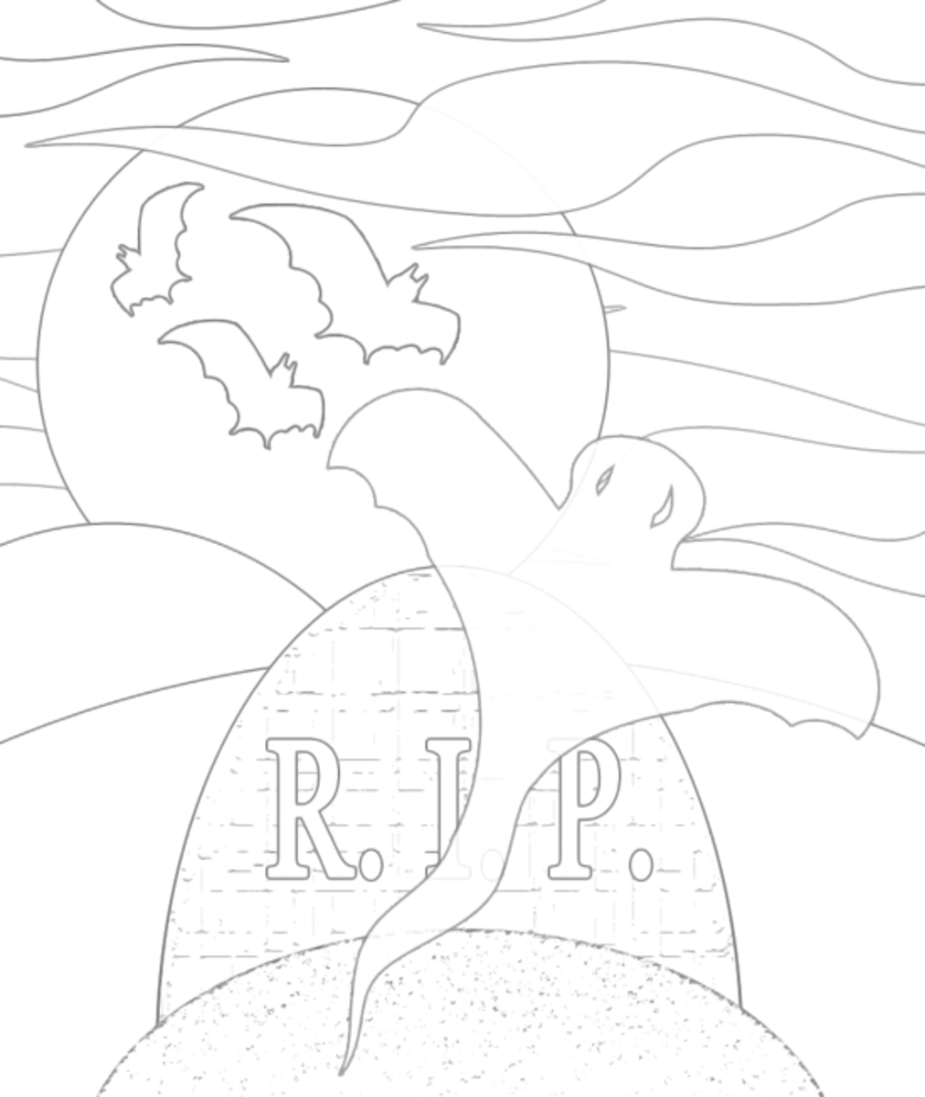 Haunted Graveyard Coloring Sheet