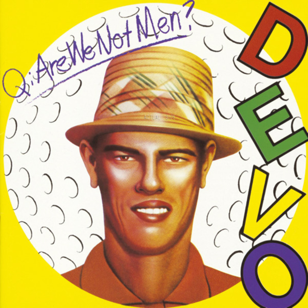 Chi Chi Rodriguez image on the cover of Devo's 1978 debut album, Q: Are We Not Men? A: We are Devo!