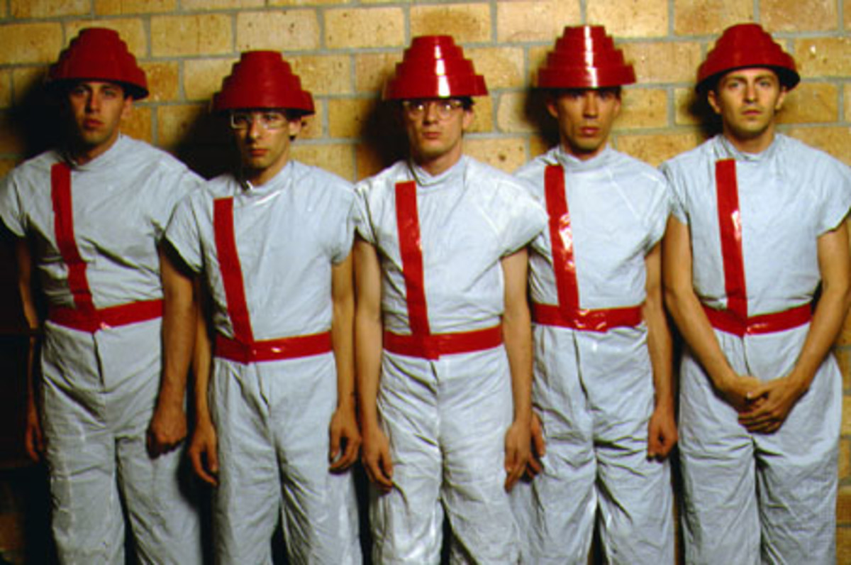 Devo, in pyramid hats, 1980.