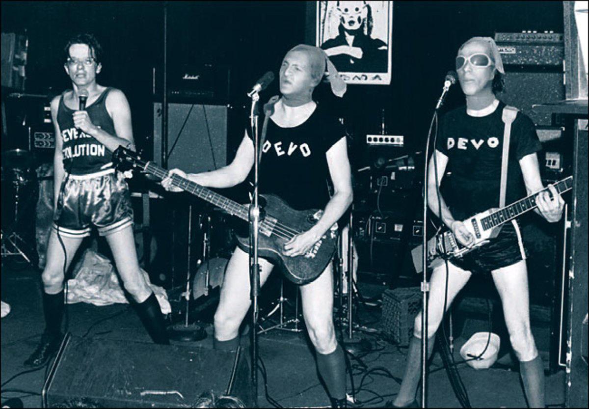 Devo on stage at Max's Kansas City in New York, 1977.