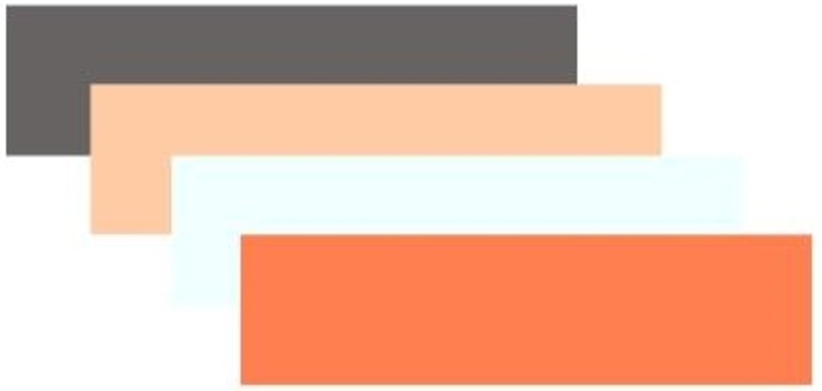 Ash grey, peach, azure and coral