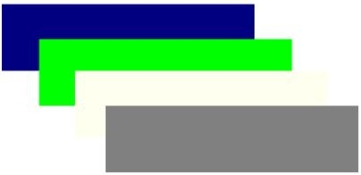 Navy blue, lime, ivory and gray