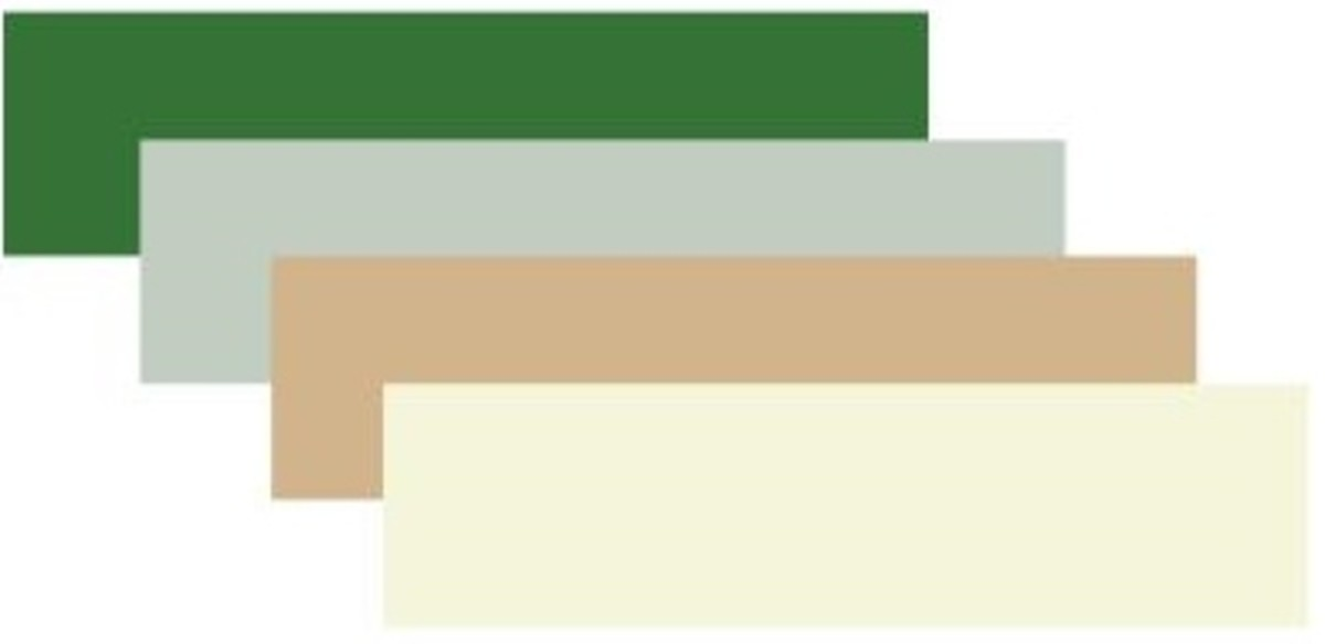 Medium forest green, honeydew, tan and beige