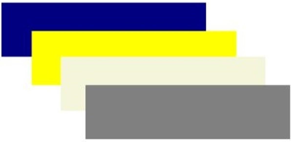 Navy blue, yellow. beige, gray