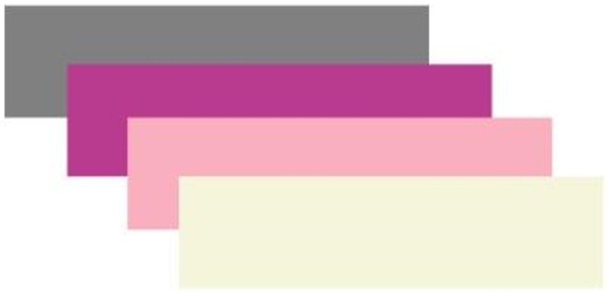 Grey, plum, pink and beige
