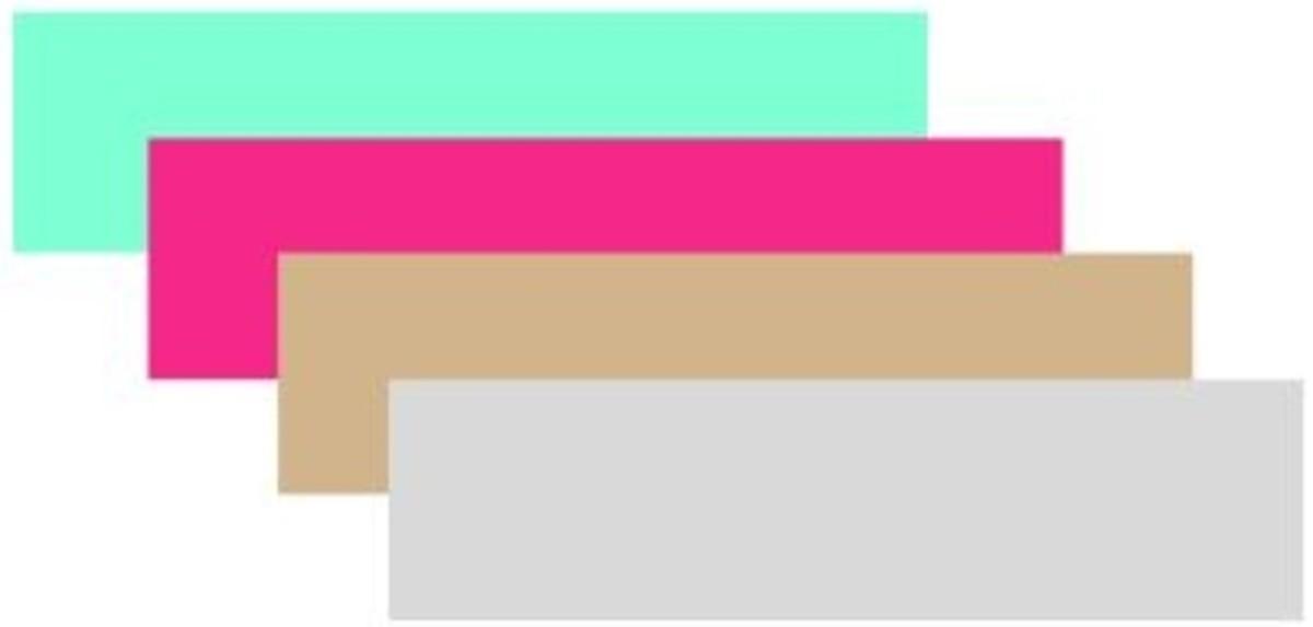 Aquamarine, hot pink, tan and grey