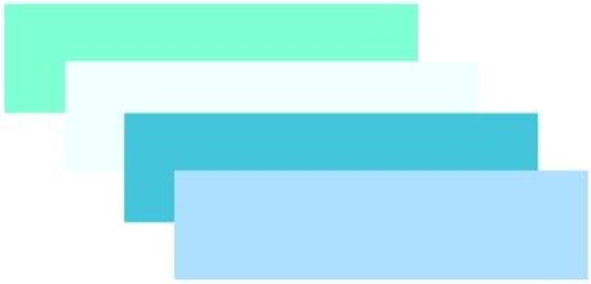 Aquamarine, Azure, Turquoise and light blue